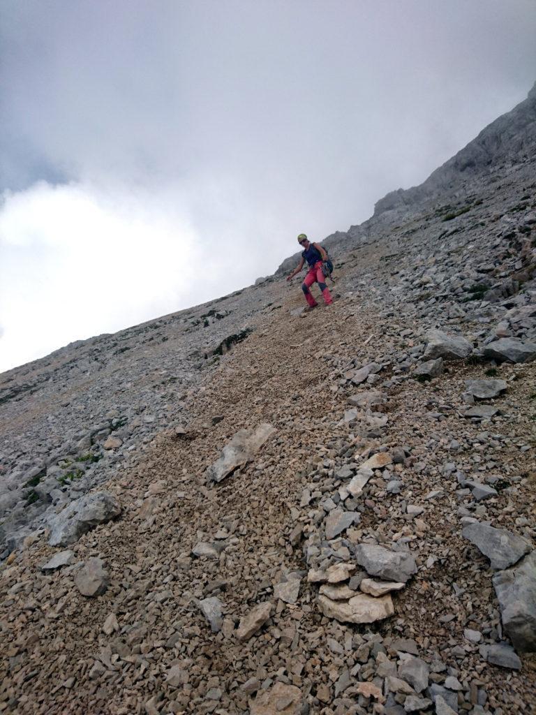 Erica lungo il ripido ghiaione che ricollega con il sentiero Costanzi