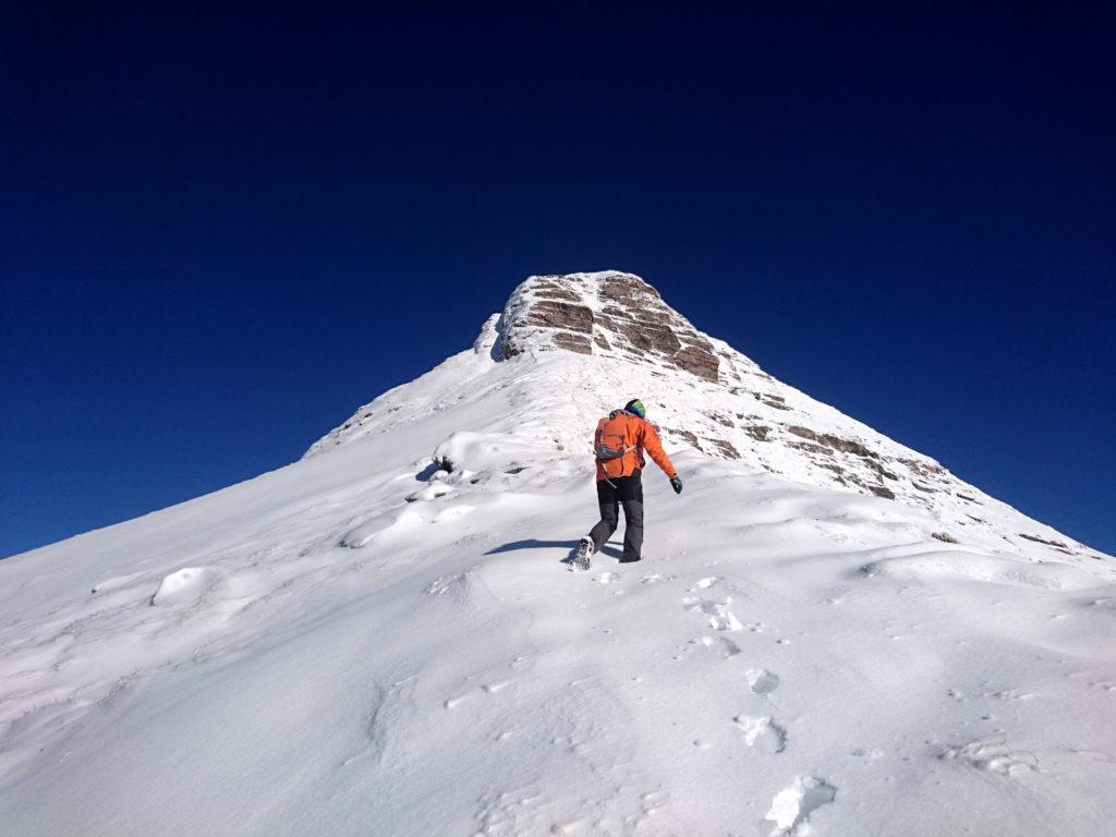ultimi metri di cresta, poi dovremo attraversare a sinistra per raggiungere un pendio meno verticale che ci condurrà in vetta