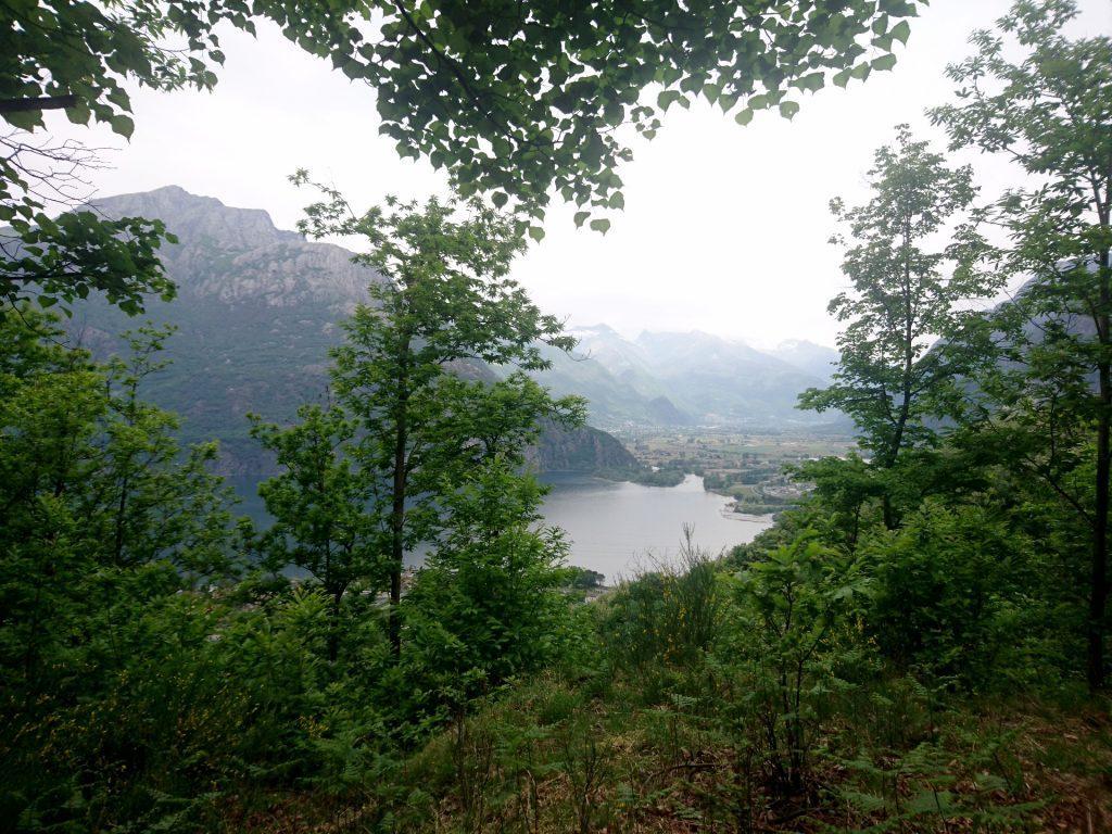 Innalzandosi nel bosco ogni tanto si apre qualche scorcio verso il lago di Novate Mezzola