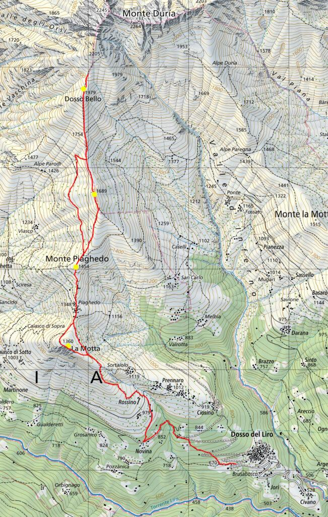 Il nostro percorso riprodotto sulla mappa svizzera