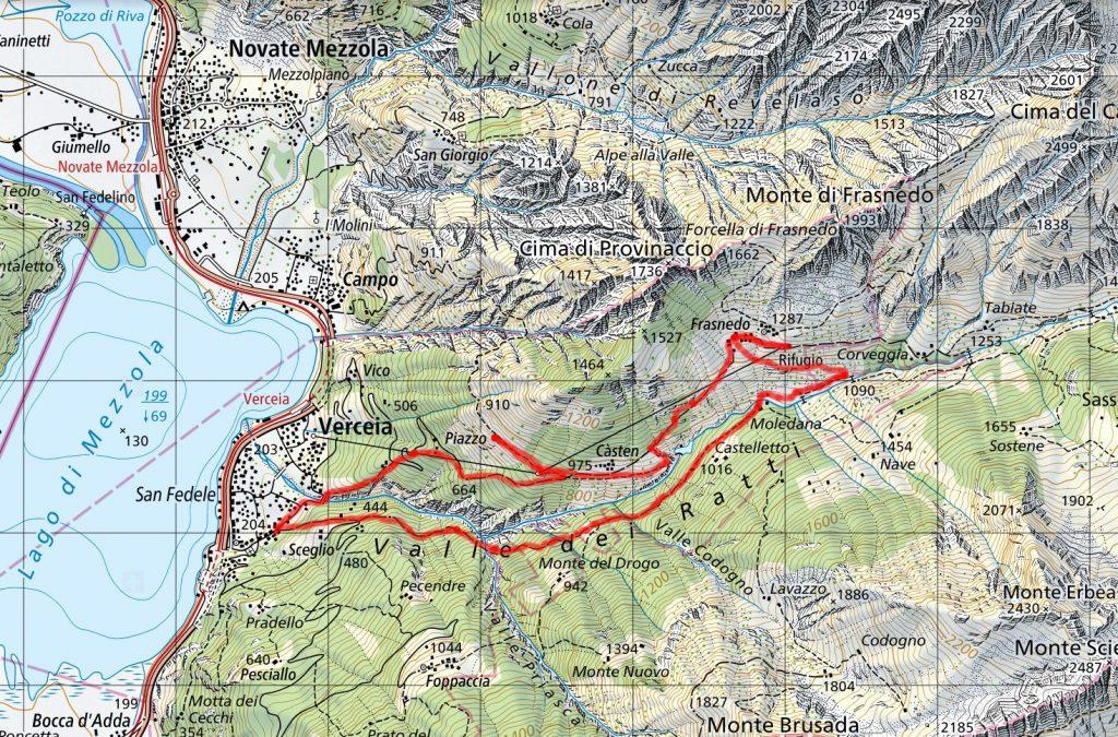 La mappa del nostro percorso. Nella parte bassa l'andata, sopra il ritorno