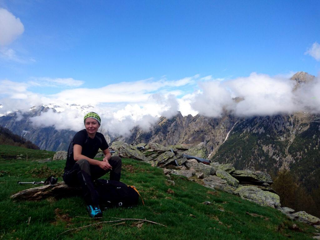 Erica all'Alpe Scermendone con il Masino sullo sfondo