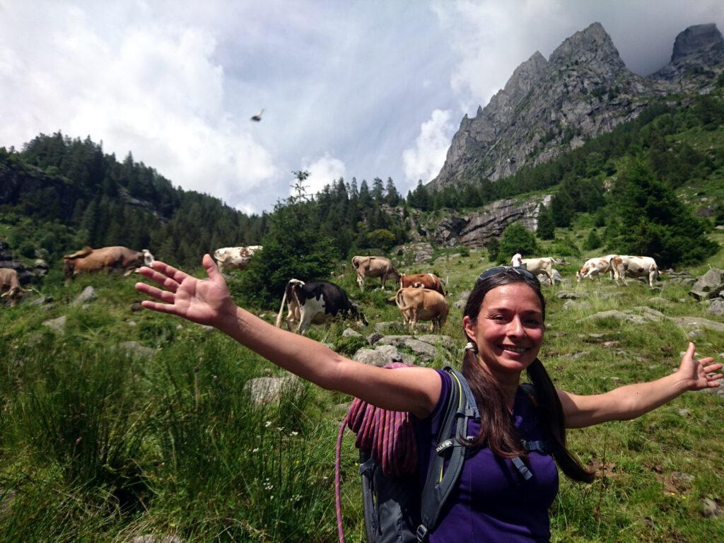 Erica felice come una bimba in mezzo alle mucche, sulla strada per il Gianetti