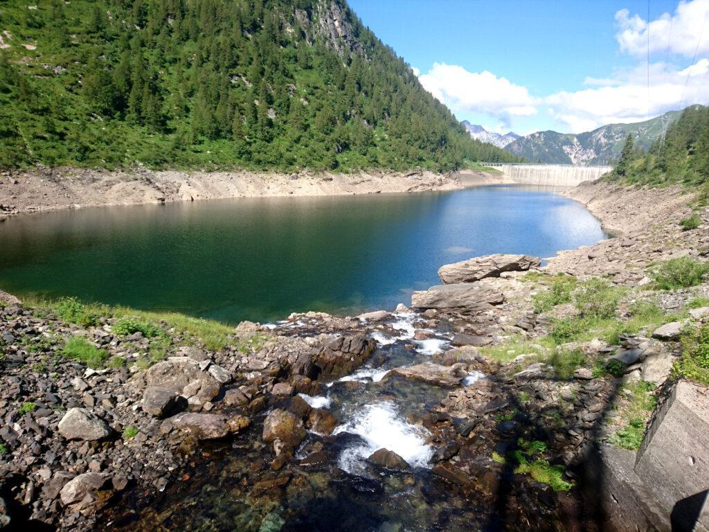 L'immissario del lago di Sardegnana. Pochi metri oltre inizia la traccia che risale il vallone