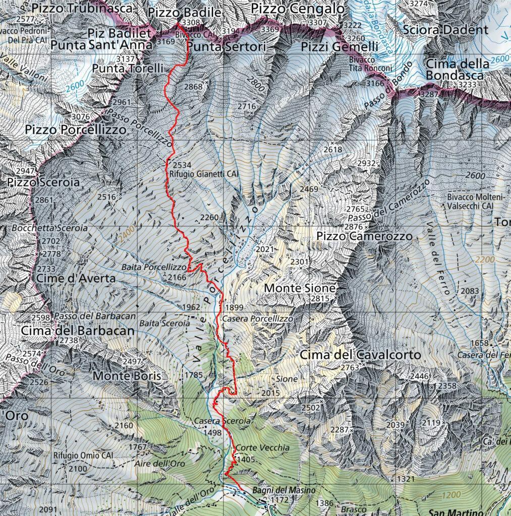 Il lungo percorso verso il Pizzo Badile riportato sulla mappa Svizzera