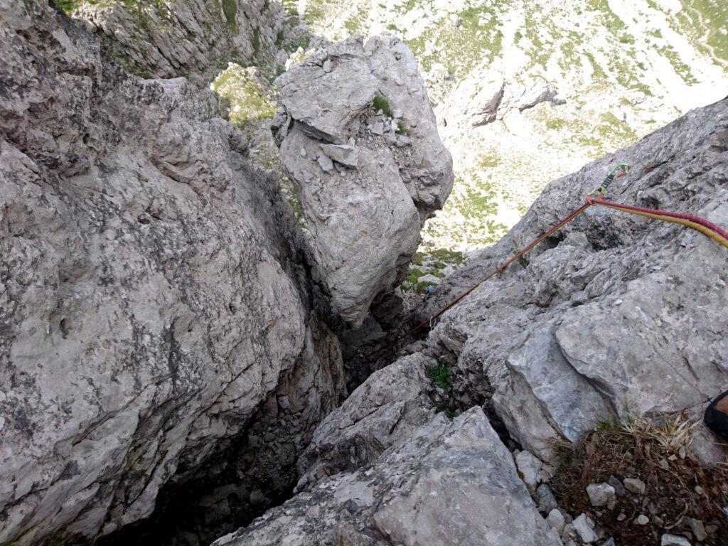 Foto dal termine del secondo camino della Gasparotto. Purtroppo da qui non rende ma è un tiro fantastico