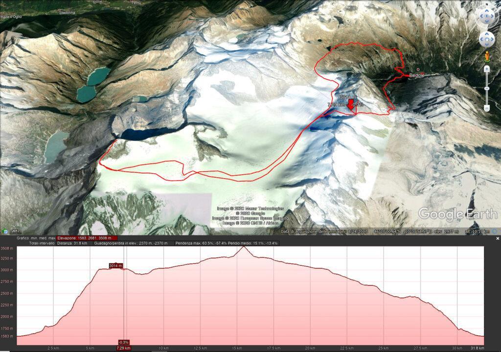 Mappa del primo giorno - Dal Bedole al Caduti dell'Adamello con la Cima Lobbia Alta nel mezzo - 7.3 km e 1600 mt di dislivello circa