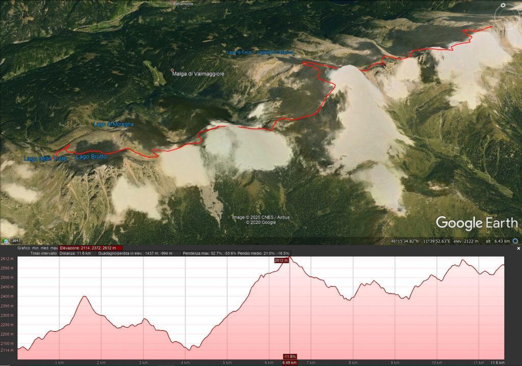 Mappa del terzo giorno - 11.6 km e 1437 mt di dislivello - dal lago delle Trote al bivacco Aldo Moro