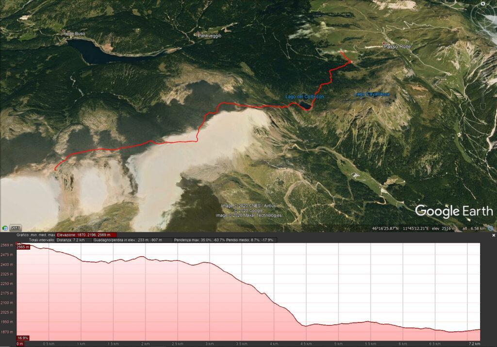 Mappa del quarto giorno - 7.2 km e 233 mt di dislivello - dal bivacco Aldo Moro a Malga Rolle