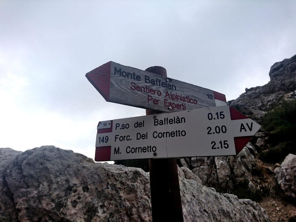 eccoci al bivio per il Monte Baffelan