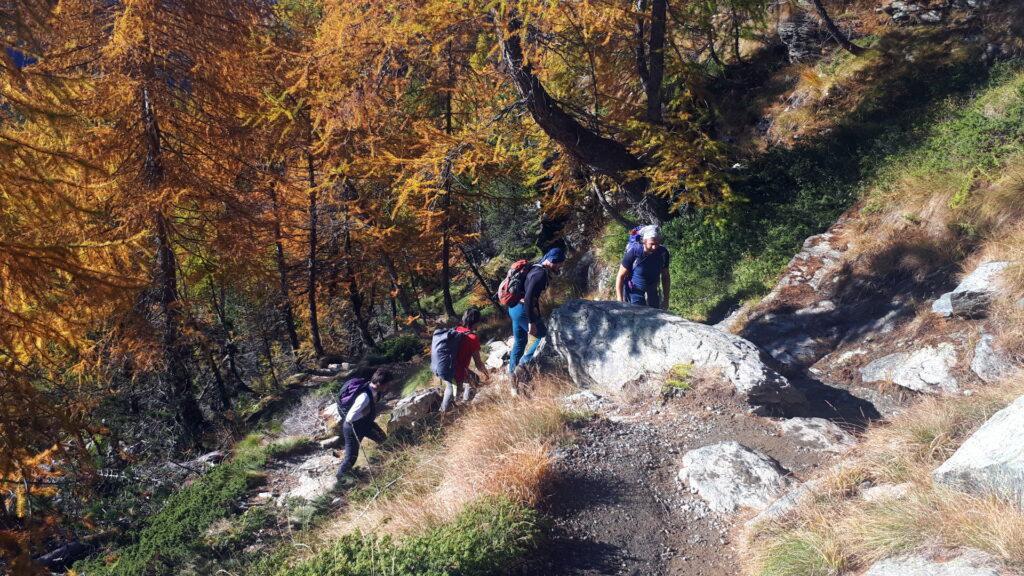 il primo tratto di sentiero che sale verso il Lac Muffè