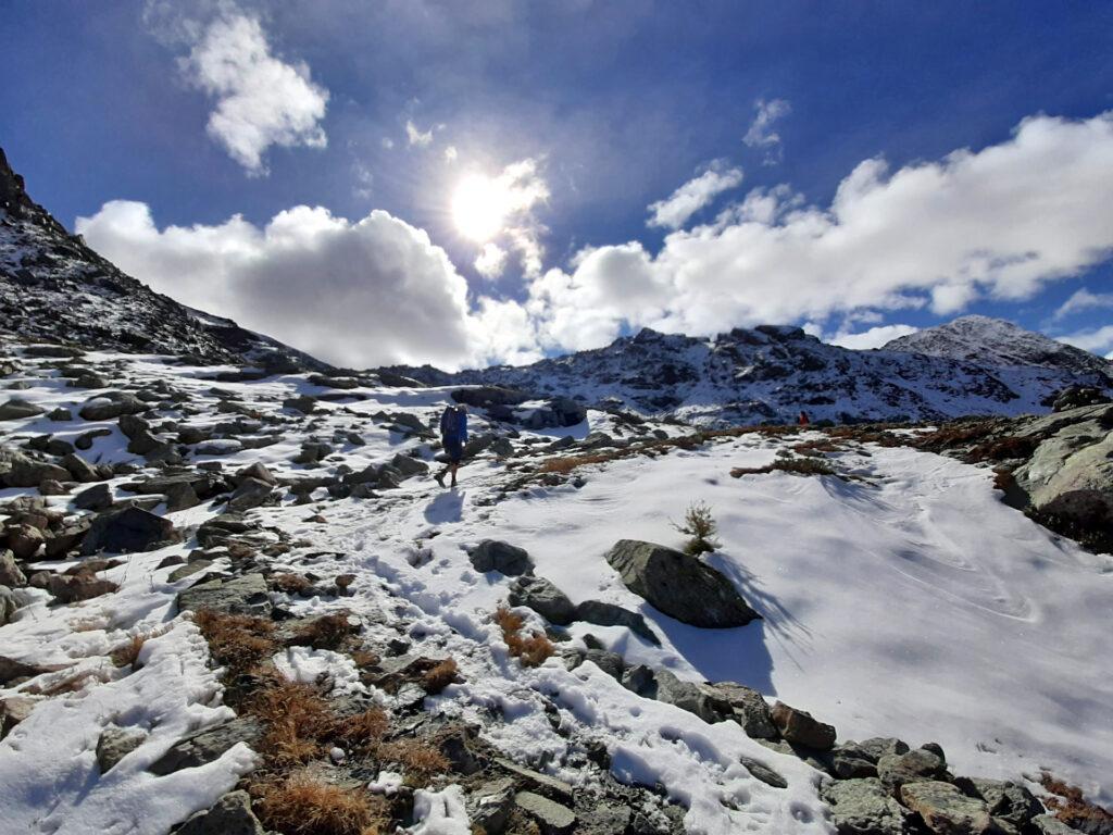 verso il Gran Lago si calpesta la neve