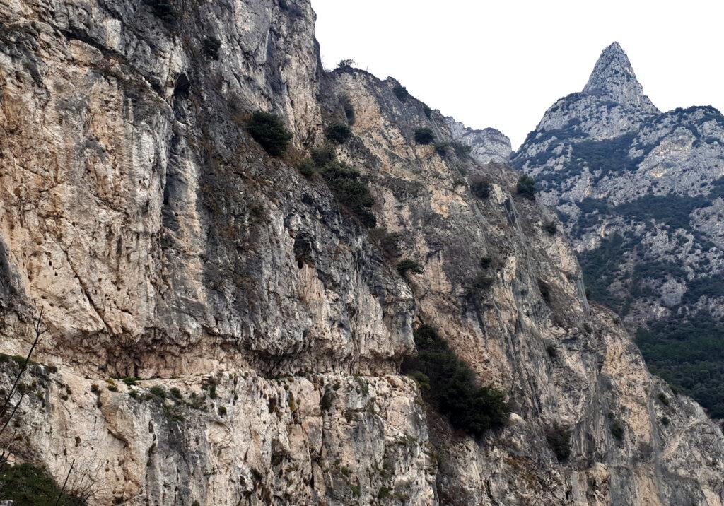 Il tratto da poco attraversato con la sua scavatura nella roccia