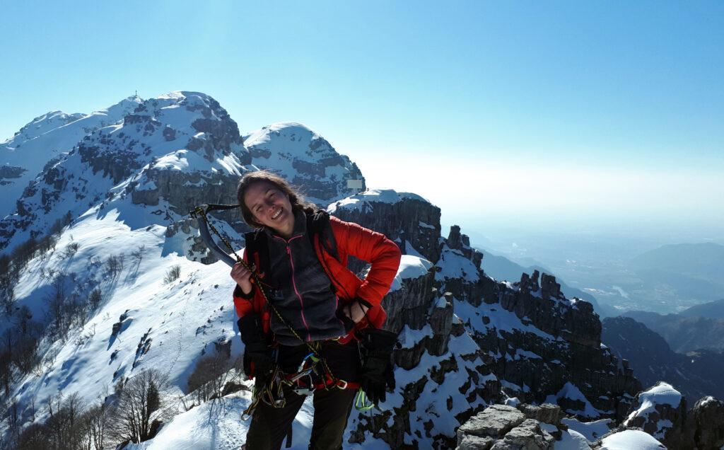 Erica felice sulla cima del Morterone!