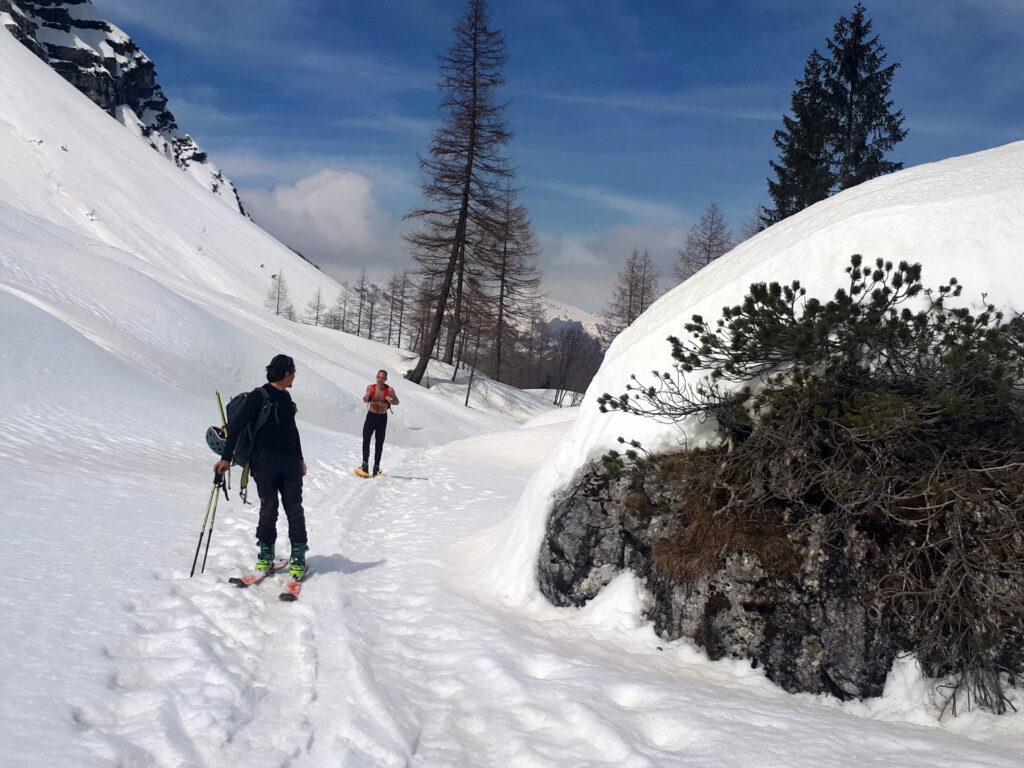 la piana di Brenta Alta è l'unico punto dove le ciaspole non risultano inadeguate!