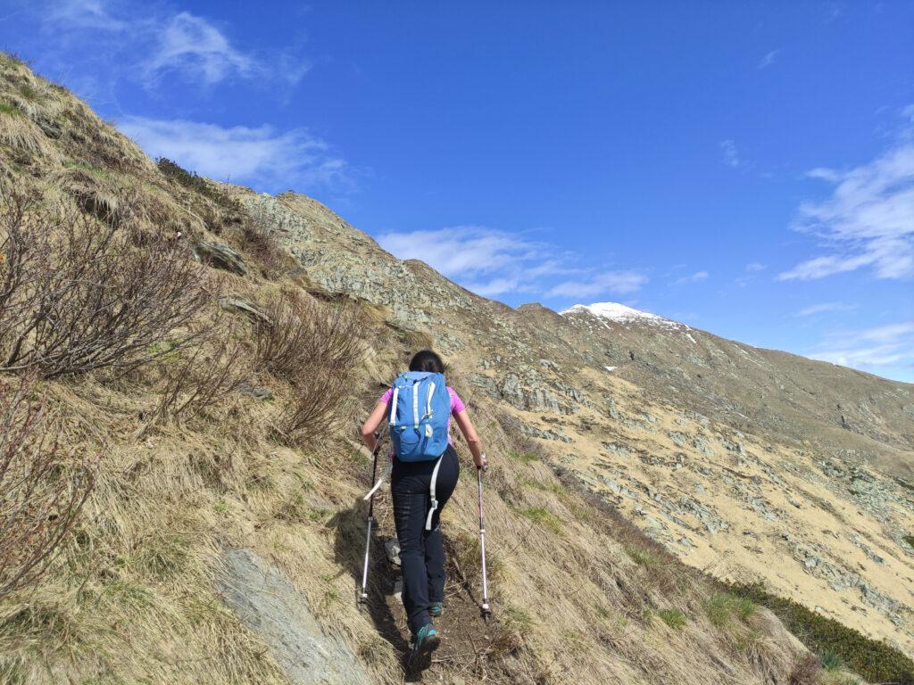 Superato il Colle della Forcola imbocchiamo il sentiero che porta verso il Pizzo Marona