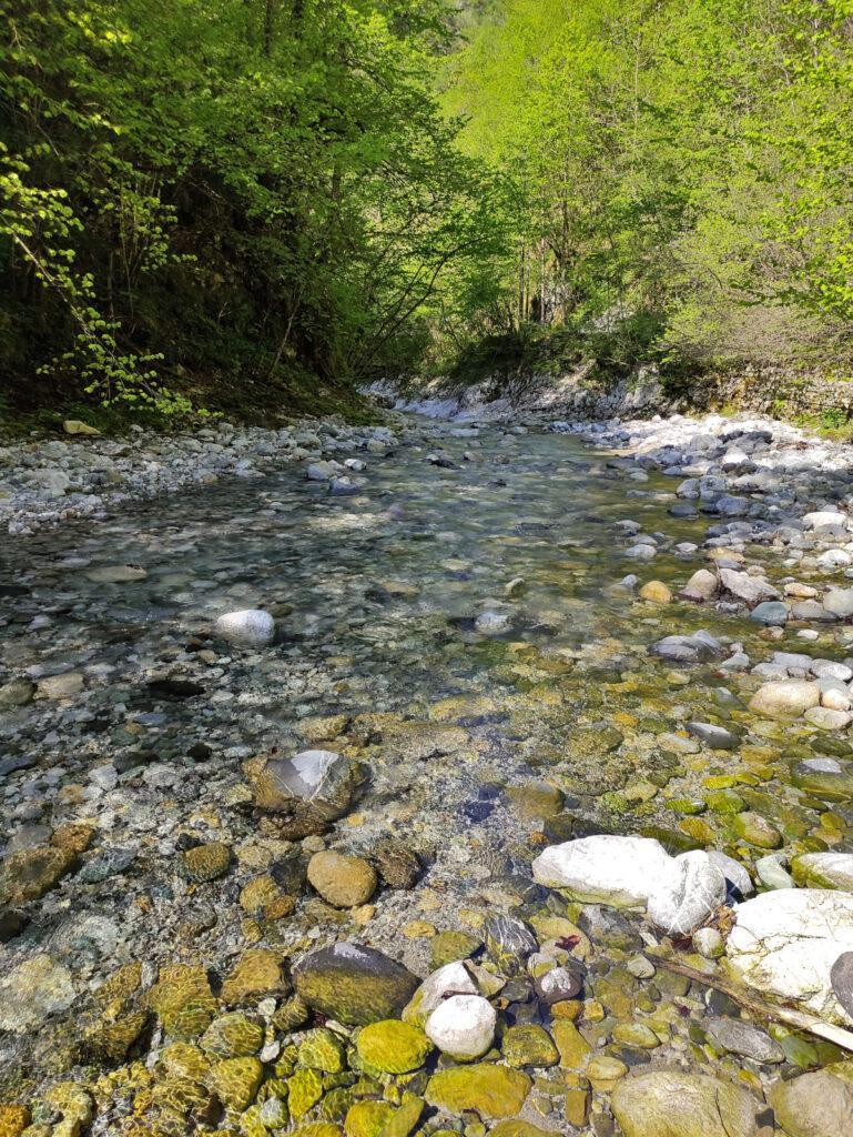 Qui dove il torrente è più tranquillo si passa sulla sponda idrografica opposta