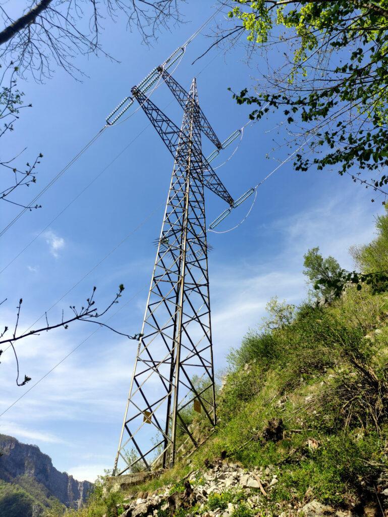 Dopo una breve salita nel bosco si raggiunge il primo dei numerosi piloni elettrici che segnano il percorso