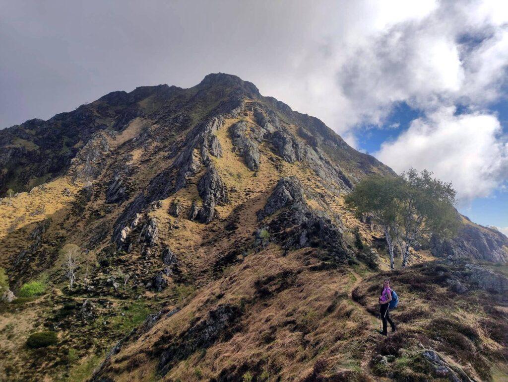 Erica all'attacco della salita del Monte Gemevola
