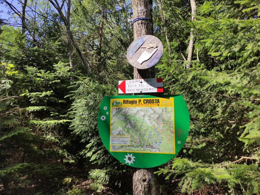 seguendo il sentiero indicato si percorre la via più lunga e più semplice per arrivare al Rifugio Crosta; noi opteremo invece per la direttissima