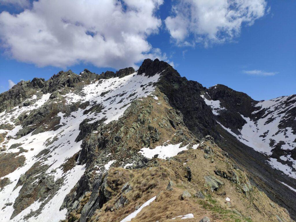 La nostra cresta si fa rocciosa per gli ultimi 150 metri di dislivello