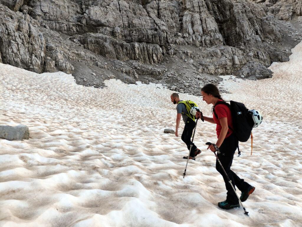 rimasugli di nevaio da risalire per la Bocca di Brenta