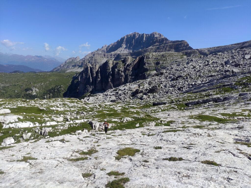 Abbandonato il sentiero si risale per questi pianoni rocciosi fino al canalone che immette verso la vedretta di Vallesinella